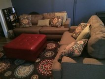 Light Brown Living room set w/ red ottoman in Camp Lejeune, North Carolina