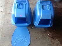 Blue Kitty Litter Boxes and one matt in Naperville, Illinois