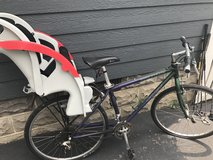 Trek bike with child bike carrier in Naperville, Illinois