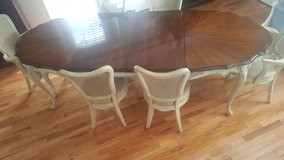 antique shabby chick French provincial all wood beautiful Dinette six chairs two Leafs in Wilmington, North Carolina