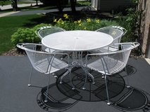 4 White Vintage Wrought Iron Chairs and Table Set-Meadowcraft in Naperville, Illinois