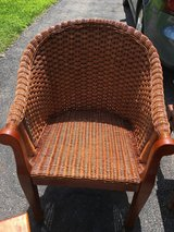 Wicker and wood chair in Plainfield, Illinois