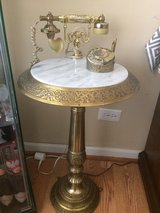 Vintage Antique marble top french brass rotary telephone pedestal stand in Bolingbrook, Illinois
