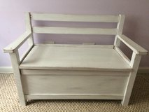 Crate & Barrel shabby white distressed toy chest bench, cute!! in Glendale Heights, Illinois