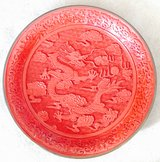 "CHINESE CARVED DRAGON CINNABAR RED LACQUER 12"" PLATE in Okinawa, Japan"