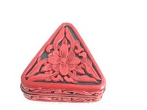 Chinese Carved cinnabar lacquer red flower box -Triangle in Okinawa, Japan