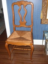 6 Solid oak splat back French Country rush seat dining chairs in Alamogordo, New Mexico