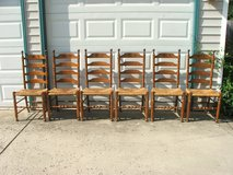 Hitchcock Early American Woven Rush Seat Ladder Back Chairs Set of 6 in Westmont, Illinois
