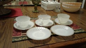 3 Fire King white cups & saucers in Fort Polk, Louisiana