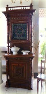 gorgeous Renaissance style hutch with stained glass in Spangdahlem, Germany