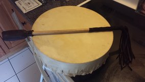 "Hand Made, Hand Forged Native Hand Drum made and bought locally in Ottawa IL 13.5"" PRICE LOWERED... in Naperville, Illinois"