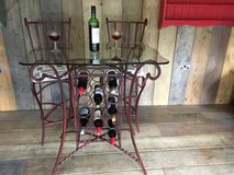 Vintage Retro Upcycled Metal Breakfast Bar with 2 Stools Glass Table Top and Built in Wine Rack in Lakenheath, UK
