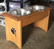 Handmade table for dog's plates in Fort Bragg, North Carolina