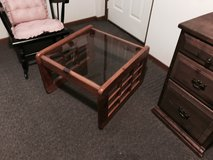 2 END TABLES LIGHT OAK WITH GLASS TOPS in Naperville, Illinois