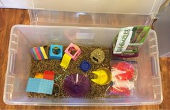 Hamster Cage or XL Enclosed Play Bin & Toys in Aurora, Illinois