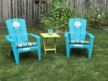 Brand New 5pc lot Outdoor lawn patio deck chairs w Cushions Table in Naperville, Illinois