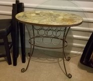End Table Indoor Outdoor Green Tan Beige Wine Rack Tile Mosaic Heavy rod iron sturdy in Kingwood, Texas