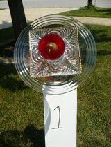 Red Glass Flower Garden Art in Glendale Heights, Illinois