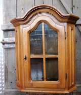 Hanging Oak Corner Cabinet With Arched Top in Ramstein, Germany