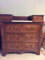 Antique dresser w/burlwood and marble inlays in Naperville, Illinois