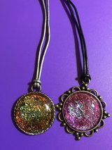Handmade Multicolored Domed Pendant Necklace- Set of 2 in Naperville, Illinois