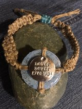Handmade Hemp Adjustable Bracelets with modified washer in Naperville, Illinois