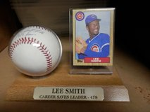 Chicago Cub Lee Smith Autographed Baseball with Topps Card in Joliet, Illinois