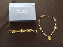 "Lia Sophia Silver 18"" necklace and 9"" bracelet with jewels in Naperville, Illinois"
