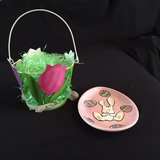 SPRING BASKET WITH EASTER BUNNY PLATE in Naperville, Illinois