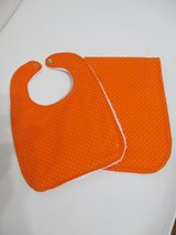 Baby Bib / Burp Cloth Set - Orange in Kingwood, Texas