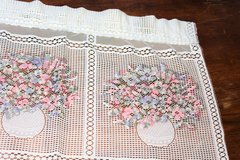 Vintage White Lace Bow Window Pink Drape Curtain Boutique Flower Floral Decor in Kingwood, Texas