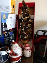 Christmas tree, brand new in box; kettle and mugs in Plainfield, Illinois
