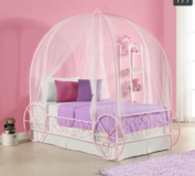 Girls Twin Pink Princess Carriage Bed W/Mattress in Lawton, Oklahoma