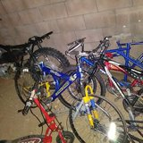 A lot of bike parts a lot in Yucca Valley, California