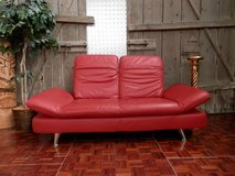 Red Leather 2 seater Designer Couch with Moveable Top and Side Panels in Ramstein, Germany