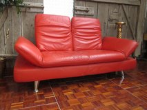 Red Leather 3 seater Designer Couch with Moveable Top and Side Panels in Ramstein, Germany