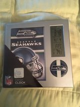 SEATTLE SEAHAWKS Sleek Silver Desk Clock with Day, Date, Temp. - NEW in Tacoma, Washington