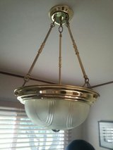 BRASS & FROSTED GLASS CHANDELIER in Elgin, Illinois