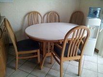CORIAN & OAK 6 CHAIR TABLE W/LEAF in Elgin, Illinois