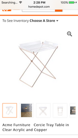 Acme Furniture Cercie Tray Table in Clear Acrylic and Copper in Byron, Georgia