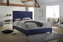 SALE! QUEEN BLUE FABRIC QUEEN BEDFRAME WITH NAILHEADS! in Camp Pendleton, California