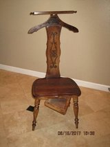 Vintage Wood Butler Chair Wardrobe Stand Wooden Valet Chair Hidden Pocket Coat Rack in Travis AFB, California