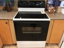 Whirlpool Black/White Smooth Top Range - USED in Fort Lewis, Washington