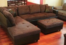 Brown Microfiber sectional couch incl. Ottoman in Tacoma, Washington