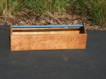 Long Wood Tool Box with Blue Handle in Lockport, Illinois