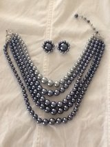 Vintage Blue Grey Pearl Necklace & Pearl Earrings Set in Plainfield, Illinois