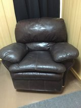 Dark Brown Leather Couch Relined/360 in Okinawa, Japan