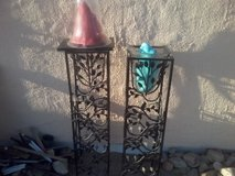 2 vases in iron stands in 29 Palms, California