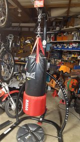 Everlast MMA punching bag with stand, bag, gloves in Travis AFB, California