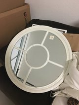 "Large Round 27"" Distressed White Mirror in Travis AFB, California"